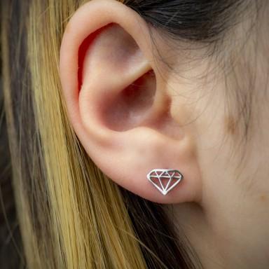 Pair of micro diamond earrings in stainless steel