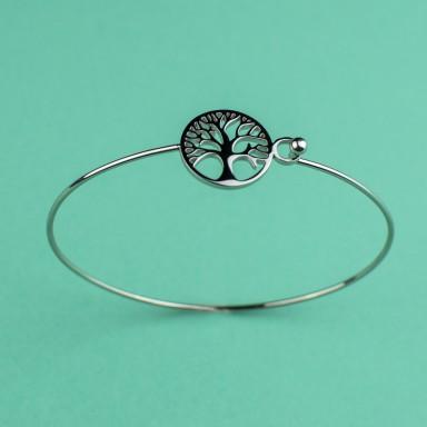 Rigid bracelet with tree of life