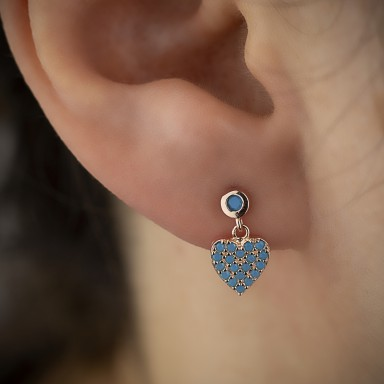 Heart pendant earring with blue zircons in 925 silver rose gold plated
