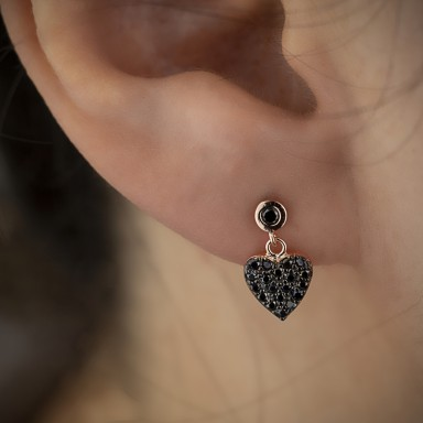 Heart pendant earring with black zircons in 925 silver rose gold plated