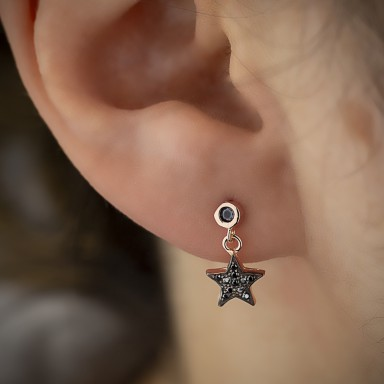 Star pendant earring with black zircons in 925 silver rose gold plated