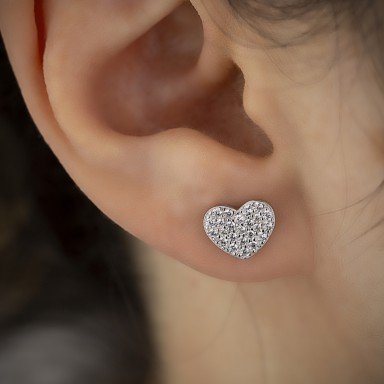 Large lobe heart in 925 silver with white cubic zirconia