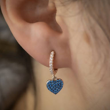Single headband 925 silver rose gold plated with heart with blue zircons