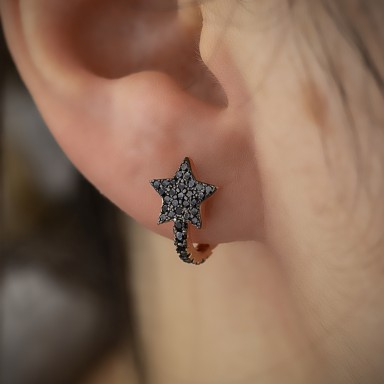Single star headband in rose gold-plated 925 silver with black zircons