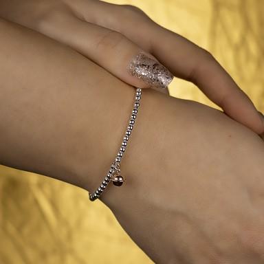 Bracciale palline e campanellino in argento 925