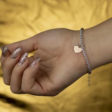 Bracciale palline e cuoricino in argento 925