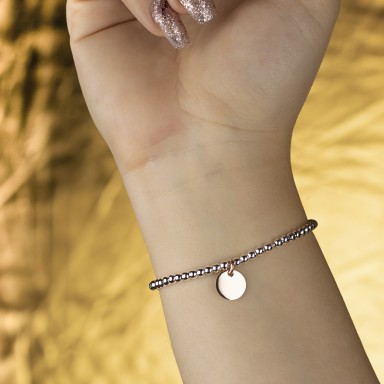 Bracelet with balls and round pendant in 925 silver