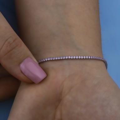 Pink tennis bracelet in rhodium finish 925 silver