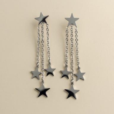 Star pendant earrings in stainless steel