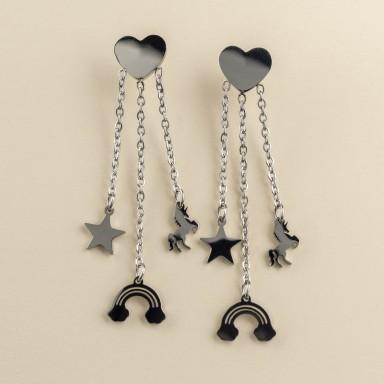 Fantasy pendant earrings in stainless steel