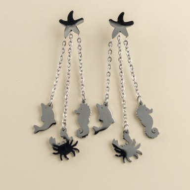 Summer pendant earrings in stainless steel