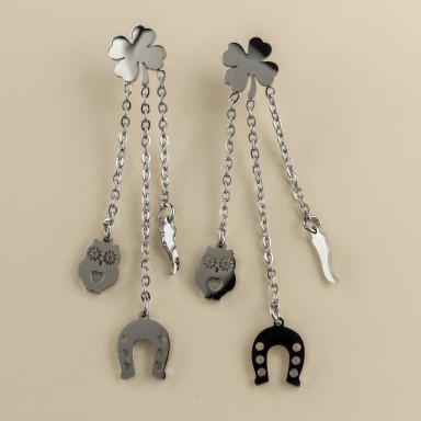 Lucky pendant earrings in stainless steel