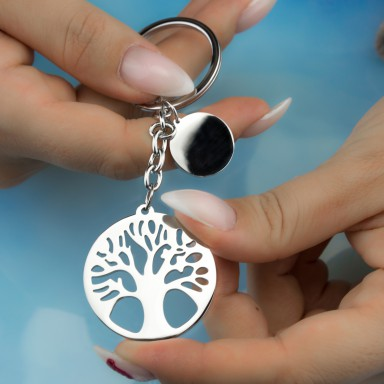 Tree of life keyring in stainless steel