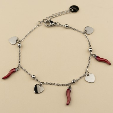 Horns and hearts bracelet in stainless steel