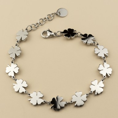 Bracelet with four-leaf clover chained in stainless steel