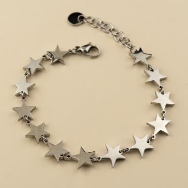 Bracciale con stelle incatenate in acciaio inox