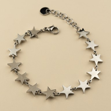 Bracelet with chained stars in stainless steel