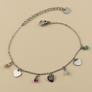 Bracelet with hearts and colored crystals in stainless steel