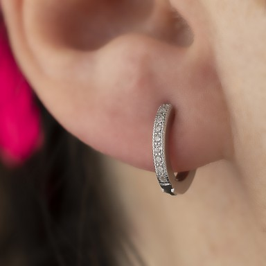 Single hoop 13 mm 925 silver with white cubic zirconia