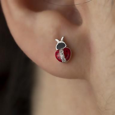 Single 925 silver ladybug earring