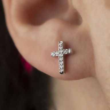 Cross earring with white zircons in rhodium-plated 925 silver