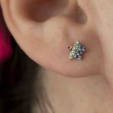 Rhodium-plated 925 silver star earring with colored zircons