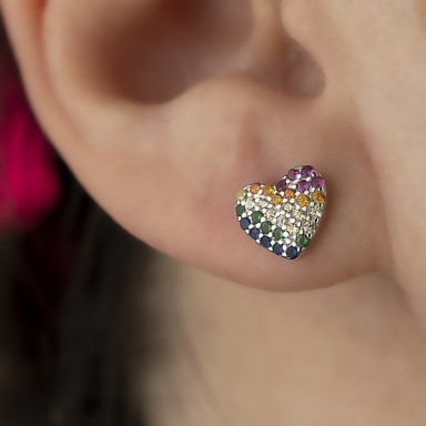 Rhodium-plated 925 silver heart earring with colored zircons