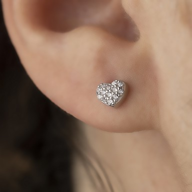 Rhodium-plated 925 silver heart earring