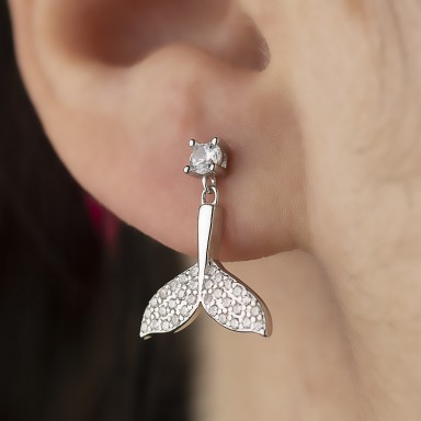 Rhodium-plated 925 silver whale pendant earring
