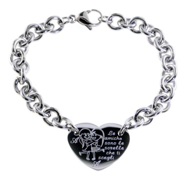 Heart bracelet FRIENDS ARE THE SISTERS YOU CHOOSE in stainless steel