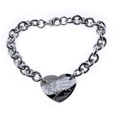 Bracciale cuore il DESTINO in acciaio inox