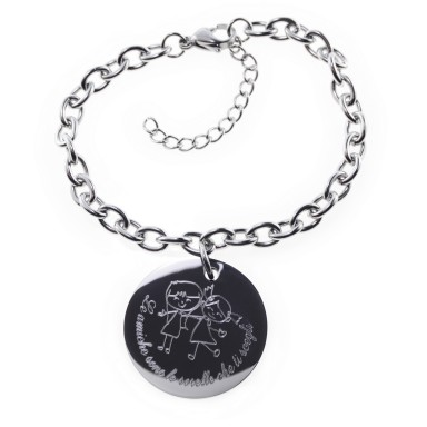 Custom bracelet friendship round pendant