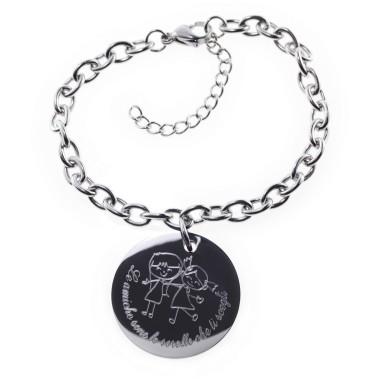 Custom bracelet friendship round pendant