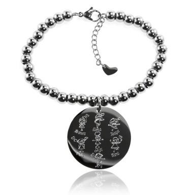 Custom bead bracelet with round pendant