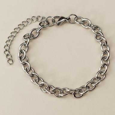 Base bracciale catena per charm in acciaio inox