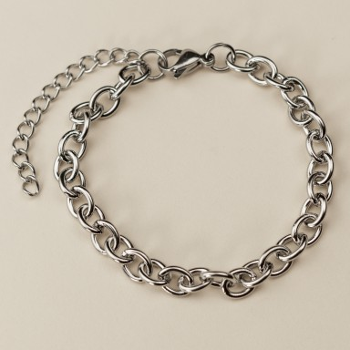 Bracelet base for chain link charm in stainless steel