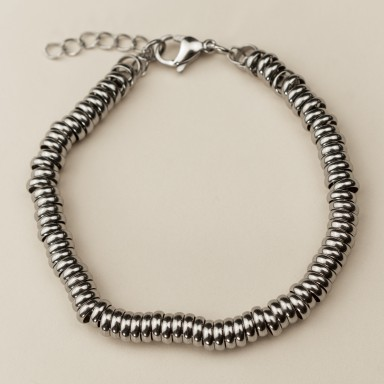 Slim Bead bracelet in stainless steel