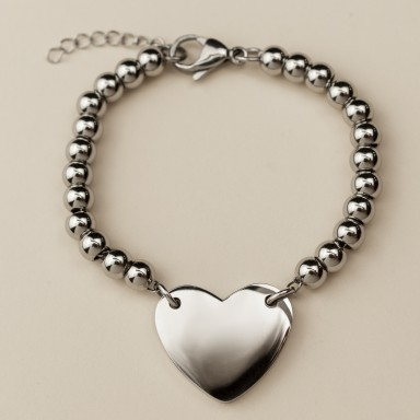 Customizable stainless steel heart bracelet