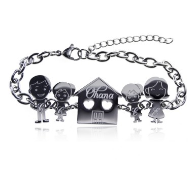 Family bracelet with 5 components in stainless steel