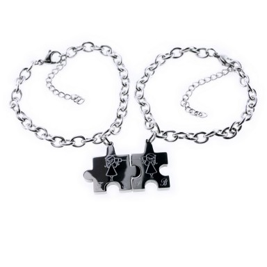 Pair of friendly PUZZLE bracelets in stainless steel