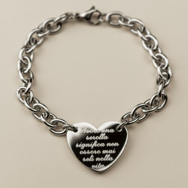 Bracelet with heart for sister