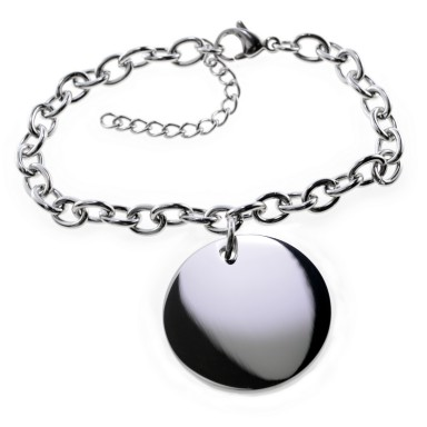Custom bracelet with round pendant in stainless steel