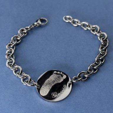 Round bracelet with imprint in stainless steel