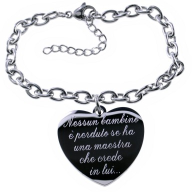 Teachers bracelet with chain with hanging heart