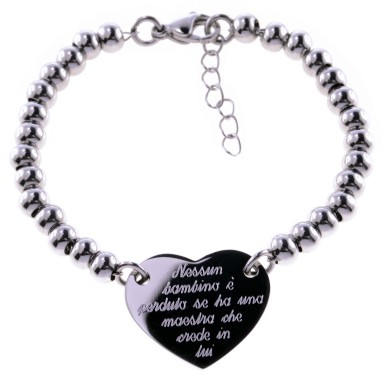 Bracelet for teacher with heart and stainless steel beads