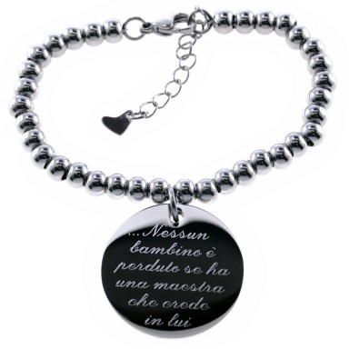 Round teacher bracelet with stainless steel beads