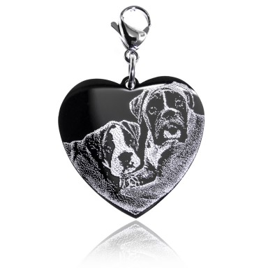 Charm with photo on stainless steel heart