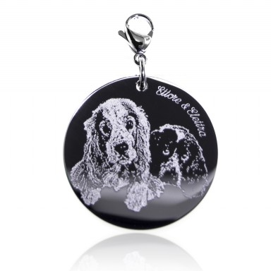 Charm with photo on round stainless steel pendant