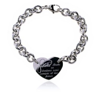 "Sister heart bracelet ""even if far away .."" in stainless steel"