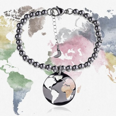 """Around the World"" ball world bracelet in stainless steel"